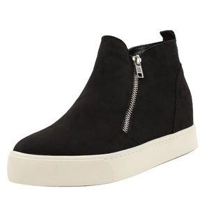 Black Hidden Wedge Rubber Sole Sneaker